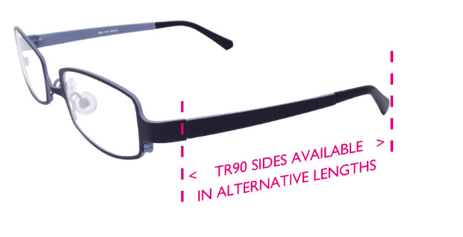 Erin's World Frame showing the adjustable TR90 (Short) sides.